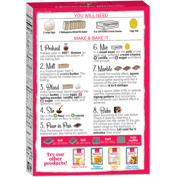 Brownie Baking Kit Instructions