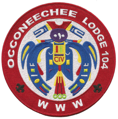 Lodge 104 Jacket Patch Red Border