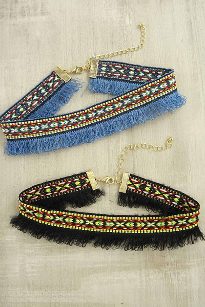 Tribal Print Fringe Choker Necklace - Dempsey & Gazelle  - 1