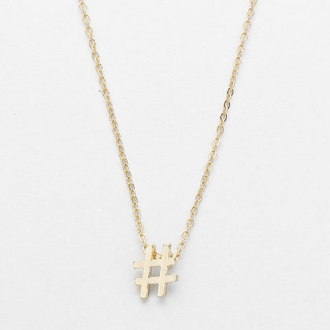 Tiny Dainty Hashtag Emoji Pendant Necklace - Gold - Dempsey & Gazelle  - 1