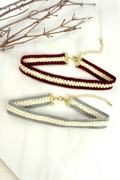 Faux Suede Braided Choker Necklace - Dempsey & Gazelle  - 1