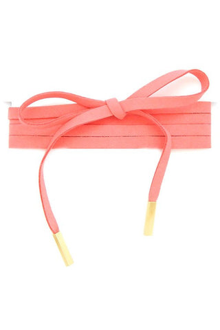 Thick Faux Suede Wrap Around Choker Pole Necklace - Apricot - Dempsey & Gazelle