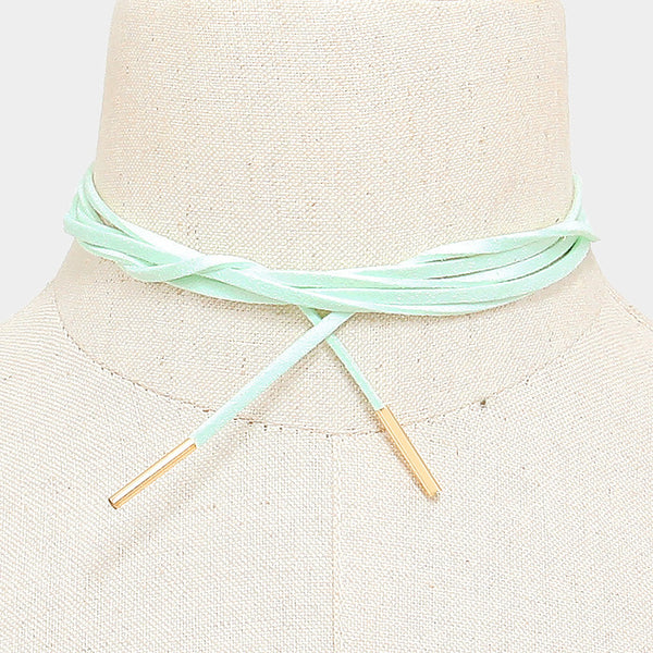 Long Faux Suede Tie Wrap Choker Matchstick Necklace - Mint - Dempsey & Gazelle