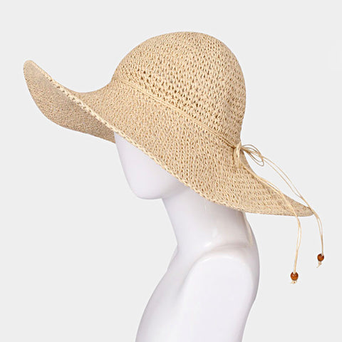 Floppy Straw Sun Hat - Beige