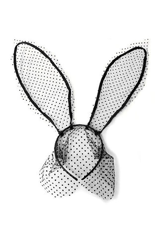 Polka Dot Lace Bunny Ears Headband with Veil - Black - Dempsey & Gazelle
