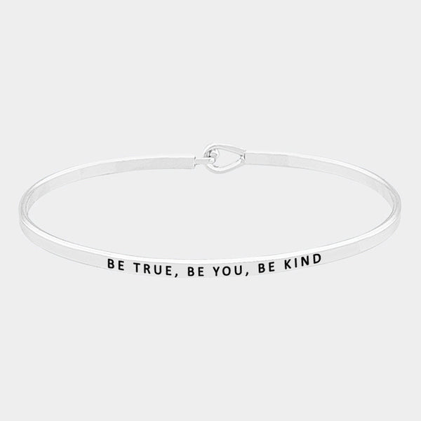 """Be True Be You Be King Skinny Mantra Cuff Bracelet"