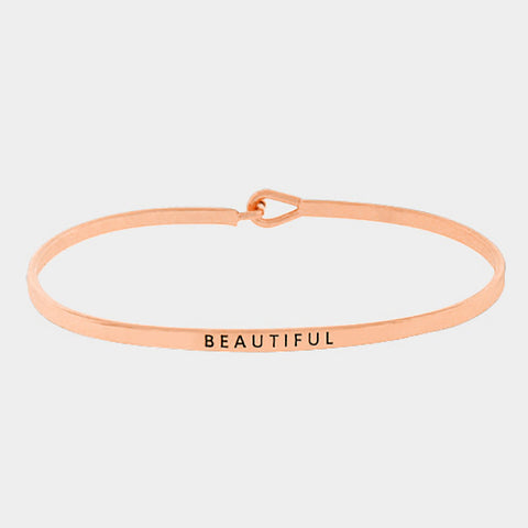 """Beautiful"" Skinny Mantra Cuff Bracelet"