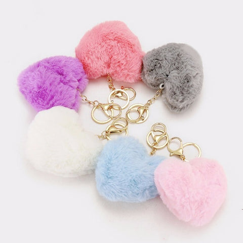 Adorable Faux Fur Heart Pom Pom Keychain