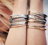 """Believe"" Arrow Skinny Mantra Cuff Bracelet"
