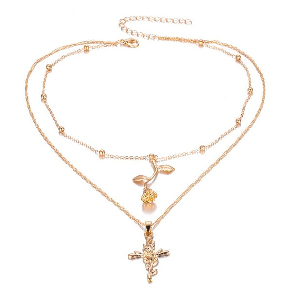 Layered Rose Cross Pendant Charm Necklace