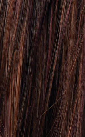 Ellen Wille Wigs | CHOCOLATE ROOTED | Medium to Dark Brown base with Light Reddish Brown highlights and Dark Roots