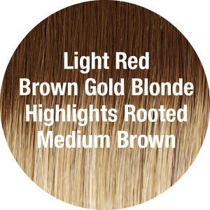 TressAllure Wigs | Light Red Brown Gold Blonde Highlights Rooted Medium Brown