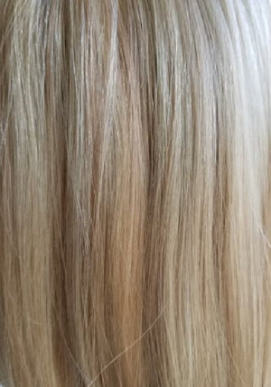 PUSH WIGS | 22/9/RT8 | PLATINUM BLONDE AND BUTTERSCOTCH BLEND WITH MEDIUM BROWN ROOTS