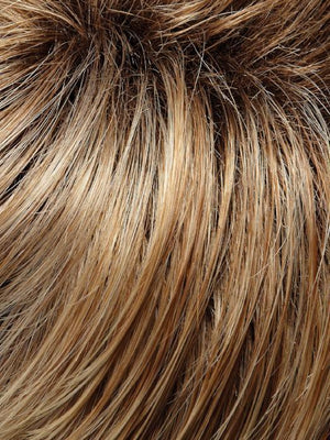 27T613S8 | Medium Natural Red-Gold Blonde and Pale Natural Gold Blonde Blend and Tipped Shaded with Medium Brown