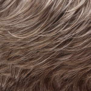 Jon Renau Wigs - Color LIGHT NATURAL ASH BROWN WITH 75% GREY FRONT GRADUATING TO MED BROWN WITH 35% GREY NAPE (39F38)