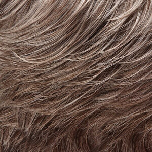Jon Renau Wigs | 39F38 | Light Natural Ash Brown 75% Grey Front, Graduating from Medium Brown with 35% Grey nape