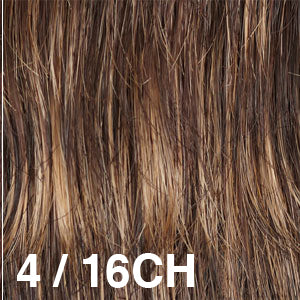 Dream USA Wigs | 4-16CH Dark Brown (4) base with Honey Blonde (16) chunked highlights
