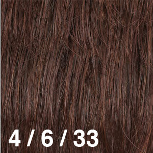 Dream USA Wigs | 4-6-33  Dark Brown (4) blended Medium Chestnut Brown (6) frosted with Burgundy (33)