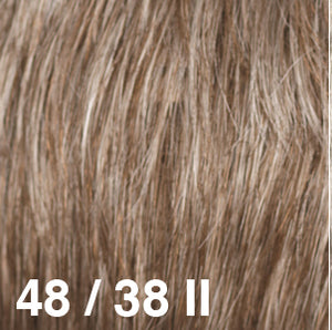 Dream USA Wigs | 48-38II Light Brown with 30% Grey (48) towards the front and gradually blends to Light Brown with 20% Grey (38) at the nape