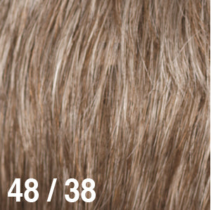 Dream USA Wigs | 48/38 Light Brown with 30% Grey (48) towards the front and gradually blends to Light Brown with 20% Grey (38) at the nape
