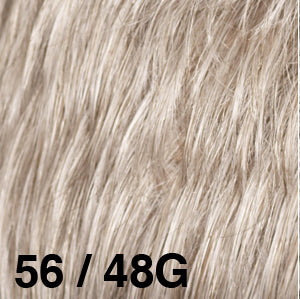 Dream USA Wigs | 56-48G  Ash Brown with 80% Grey (56) towards the front and gradually blends to Light Brown with 30% Grey (48) at the nape
