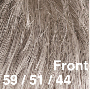 Dream USA Wigs | 59-51-44  Jet Black with 90% Grey (59) blended with Off Black with 80% Grey (51) and Brown with 50% Grey (44)