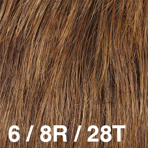 Dream Wigs USA | 6/8R/28T Medium Chestnut Brown (6) blended with Medium Ash Brown (8) tipped with Copper Gold (28)