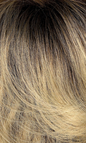 614GR - Wheat blonde with light gold blonde highlights and brown roots