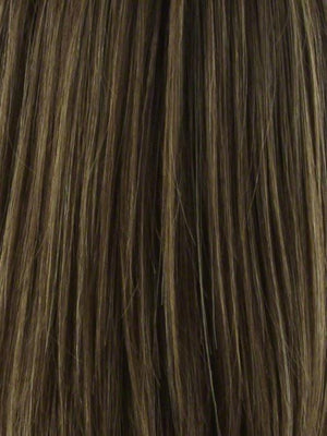 Noriko Wigs | ALMOND SPICE-R | Dark Brown with Medium Brown Base with Honey and Platinum Blonde Highlights and Dark Brown roots