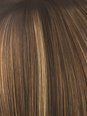 Noriko Wigs | ALMOND ROCKA R | Rooted Dark Golden Brown base color with Strawberry Blonde and Bright Cooper evenly blended highlights