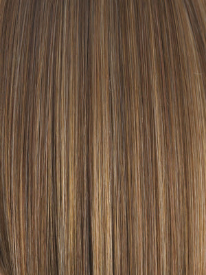 Rene of Paris Wigs | ALMOND-ROCKA | Dark Golden Brown base color with Strawberry Blonde and Bright Cooper evenly blended highlights