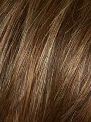 ALMOND ROCKA | Dark Golden Brown base color with Strawberry Blonde and Bright Cooper evenly blended highlights