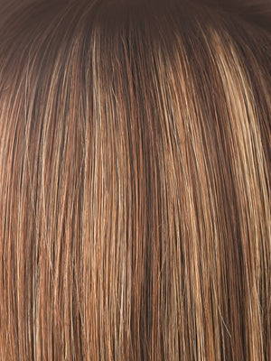 Noriko Wigs | AUBURN SUGAR-R | Rooted Dark with a Medium Auburn base with a Dark Strawberry Blonde highlight