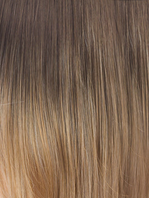 Noriko Wigs | BANANA SPLIT LR | The base is a slightly warmer brown that quickly shifts to a light golden blonde. I would best describe this color as a heavily rooted blonde