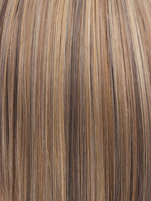 Noriko Wigs | BUTTER PECAN-R | Rooted Dark with a Light Golden Blonde base with Brown and Medium Auburn evenly blended lowlights