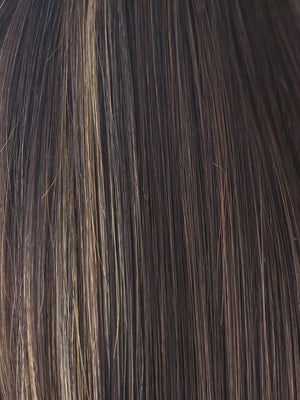 Rene of Paris Wigs | CARAMEL-BROWN | Dark Reddish Brown with White Gold highlights around the face