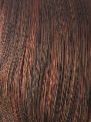 Rene of Paris Wigs | CAYENNE SPICE | Copper Red and Brown Evenly Blended Base with Dark Brown Highlights