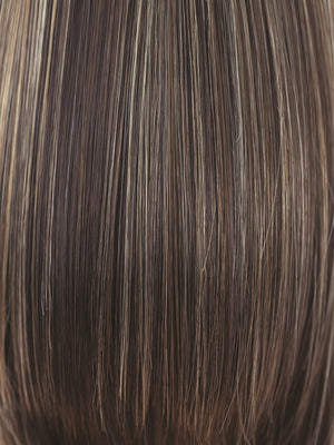Rene of Paris Wigs | CHOCOLATE-FROST-R | Rooted Dark with a Dark Brown Base with Honey Blonde and Platinum highlights