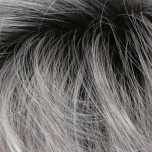 Estetica Wigs | CHROMERT1B	| Gray & White with 25% Medium Brown Blend & Off-Black Roots