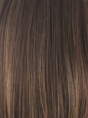 Amore Wigs | COFFEE-LATTE-R | Dark Brown with evenly Blended Honey Brown highlights and Dark roots
