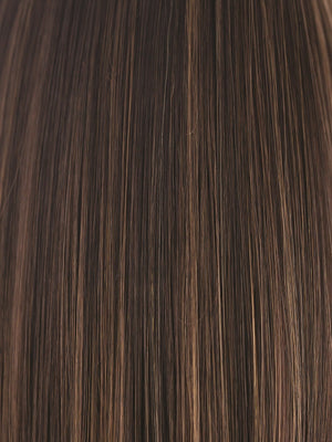 Rene of Paris Wigs | COFFEE-LATTE | Dark Brown with Dark Brown & Honey Brown evenly blended highlights
