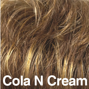 Dream USA Wigs | COLA AND CREAM Dark Brown (4) blended with Medium Chestnut Brown (6) and Light Strawberry Blonde (27L)