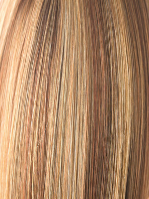 Noriko Wigs | COPPER GLAZE R | Rooted Dark Bronzed Brown with Red Gold highlight