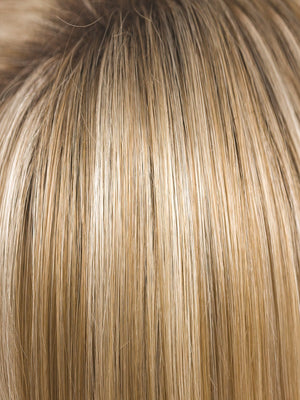 Noriko Wigs | CREAMY TOFFEE R | Rooted Dark with Light Platinum Blonde and Light Honey Blonde evenly blended