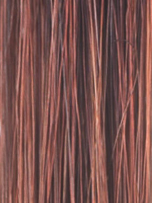 Noriko Wigs | CRIMSON-LR Light Copper blended with Medium Copper and Deep Burgundy roots