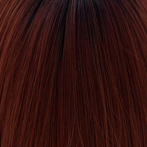 BelleTress Wigs | Cayenne with Ginger Root | 1BR/33/350 | A mixture of off black and darkest brown rooting with a blend of cayenne, burgundy, red mahogany and chocolate cherry
