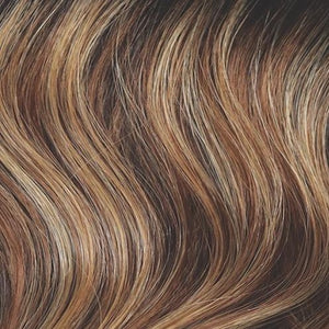 Rene of Paris Wigs | Chocolate Pretzel - Dark brown rooted and dark brown base with golden brown and blond highlights
