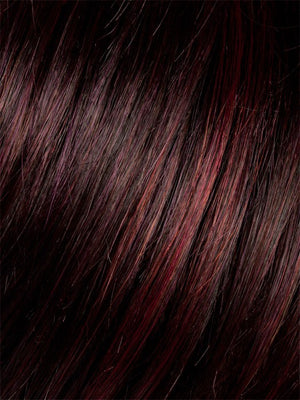 Ellen Wille Wigs | AUBERGINE-MIX | Darkest Brown with hints of Plum at base and Bright Cherry Red and Dark Burgundy Highlights