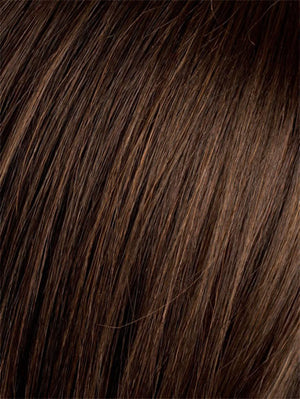Ellen Wille Wigs | DARK CHOCOLATE ROOTED | Warm Medium Brown, Dark Auburn, and Dark Brown Blend with Dark Roots