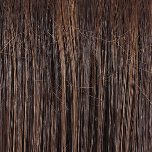 Belle Tress Wigs | English Toffee | 6F27 | A blend of medium chocolate and Tuscany rich brown with light auburn highlights